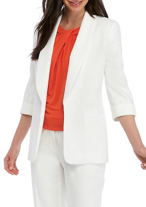 Kasper Tab Sleeve Jacquard Jacket