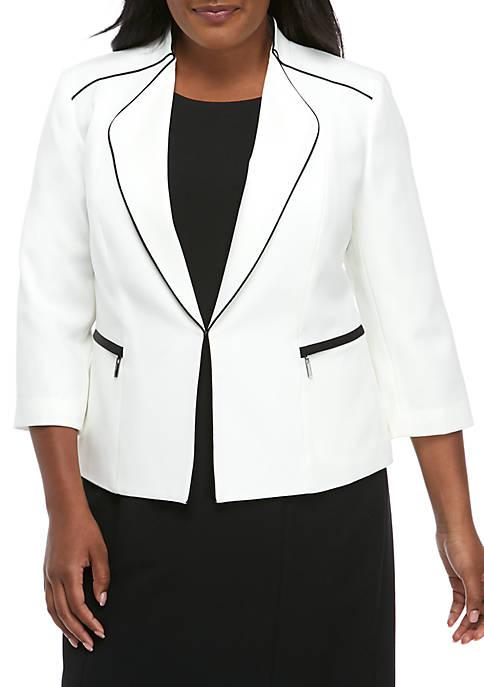 Kasper Plus Size Wide Lapel Jacket