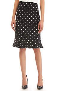 Kasper Peplum Polka Dot Skirt