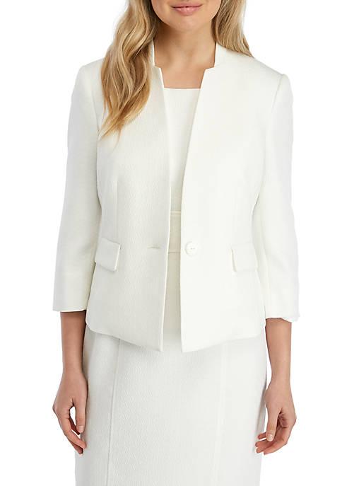 Kasper One Button Diamond Textured Jacket