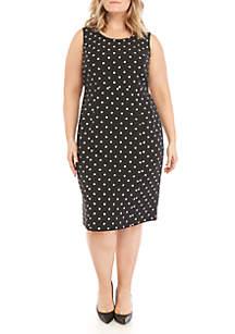 Kasper Plus Size Polka Dot Sheath Dress