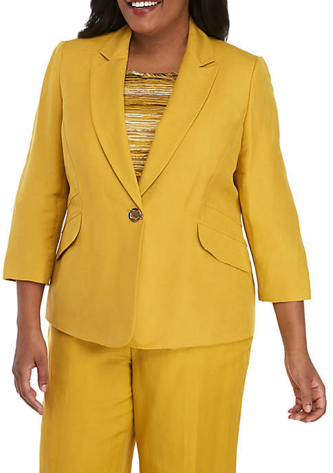 Plus Size One Button Notch Collar Jacket