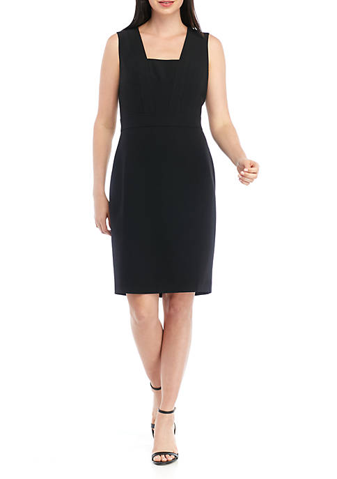 Kasper Sleeveless Square Neck Crepe Dress