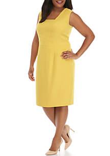 Kasper Plus Size Sleeveless Square Neck Shift Dress