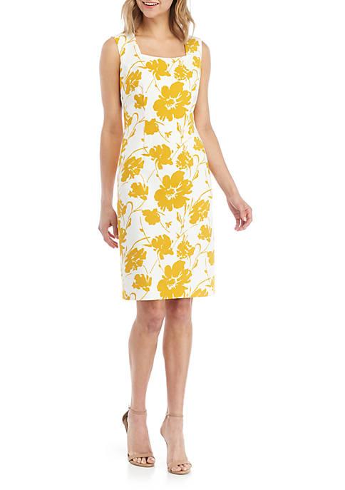 Kasper Sleeveless Square Neck Floral Dress