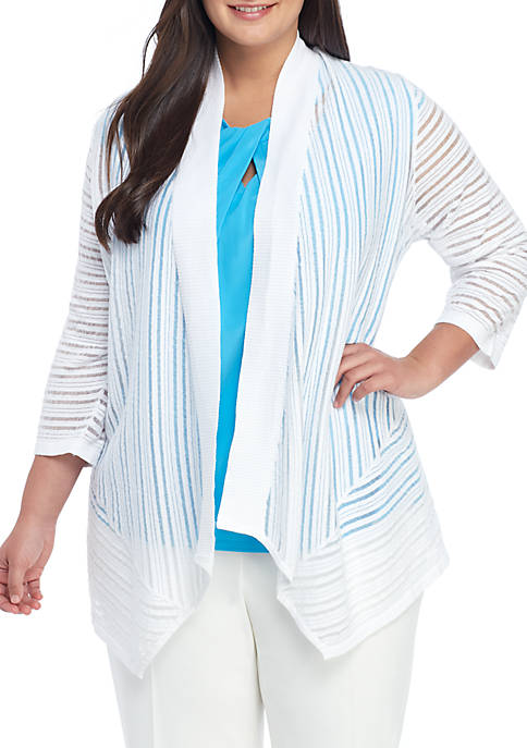 Kasper Plus Size Vertical Sheer Stripe Cardigan