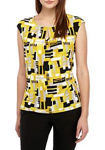 Kasper Cap Sleeve Printed ITY Top