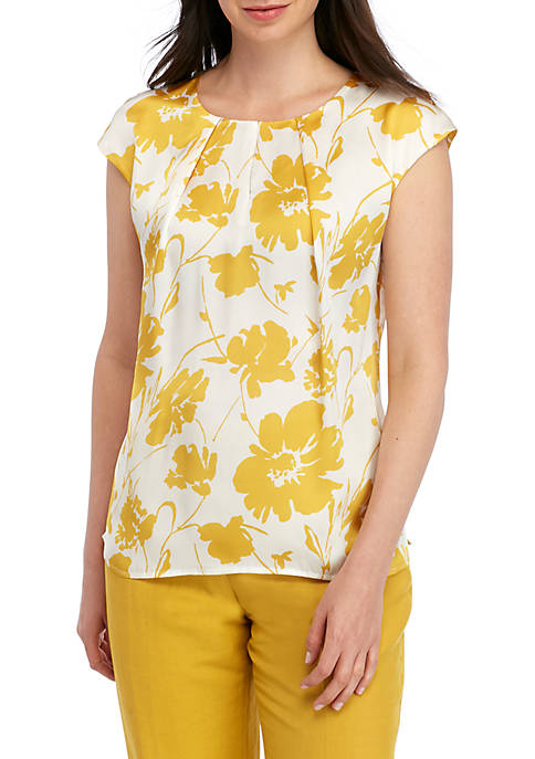 Kasper Sleeveless Floral Blouse