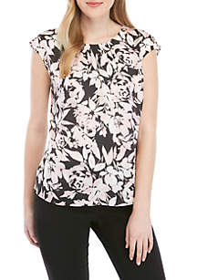 Kasper Pleat Neck Floral Satin Blouse