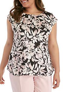 Kasper Plus Size Pleat Neck Floral Satin Top