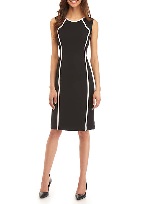 Kasper Sleeveless Dress with Piping