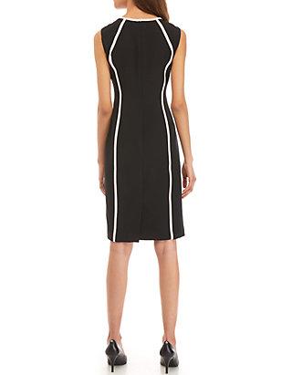 e152b3a0f0 Kasper Sleeveless Dress with Piping