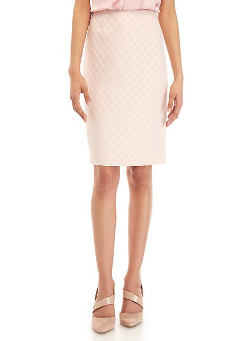 Kasper Dot Jacquard Skirt