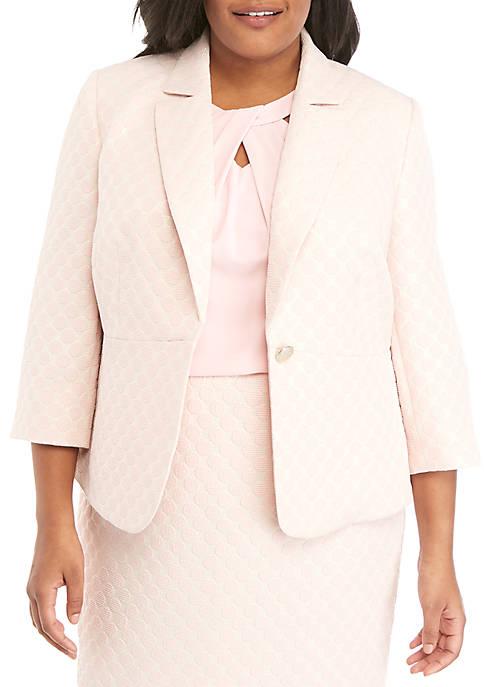 Kasper Plus Size 1 Button Dot Jacquard Jacket