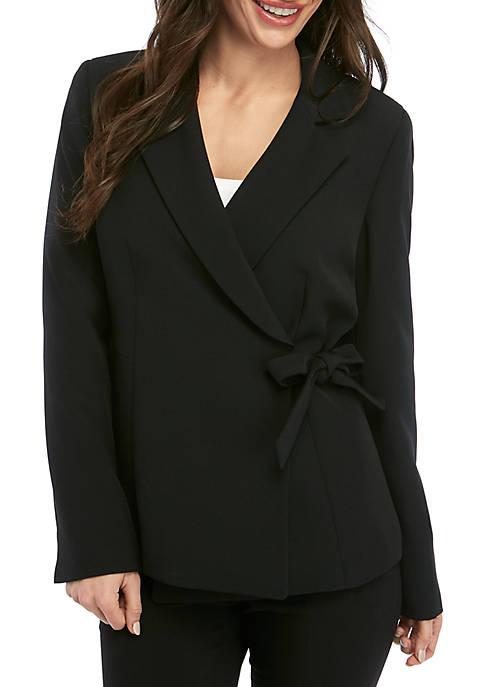 Petite Crepe Side Tie Jacket