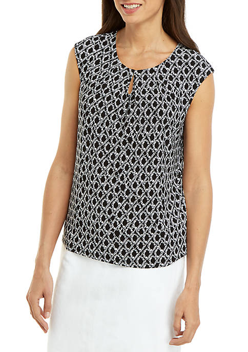 Kasper Sleeveless Scoop Neck Dot Print Cami
