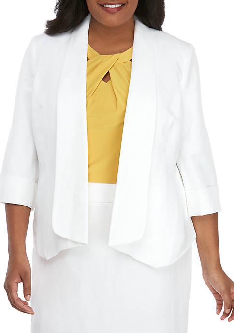 Kasper Plus Size Linen Flyaway Jacket