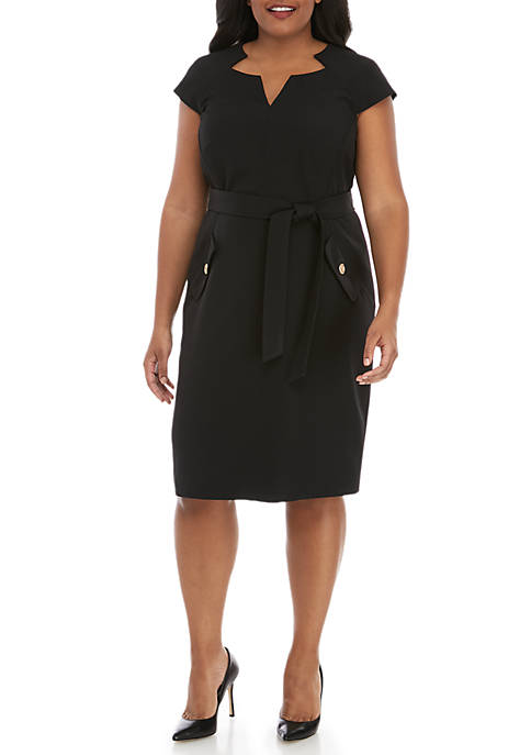 Plus Size Belted Cap Sleeve Dress