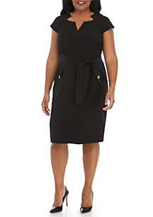 Kasper Plus Size Belted Cap Sleeve Dress