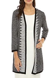 Kasper Long Stripe Cardigan