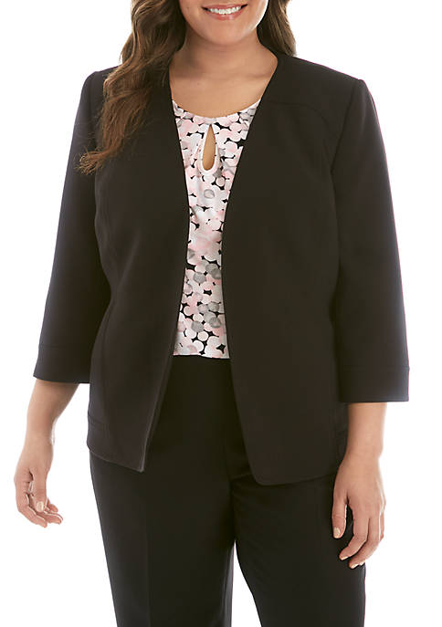 Kasper Plus Size Fly Away V Neck Jacket