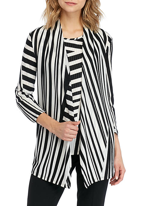 Long Sleeve Zigzag Jacquard Cardigan