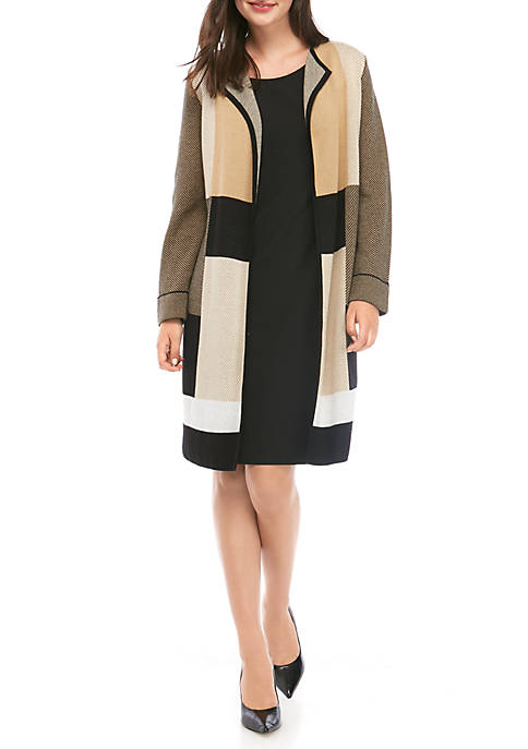 Kasper Womens Open Plaid Jacquard Cardigan