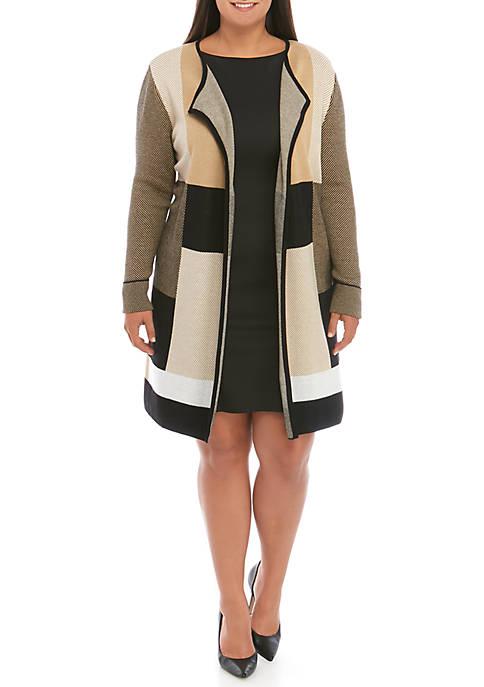 Plus Size Plaid Jacquard Cardigan