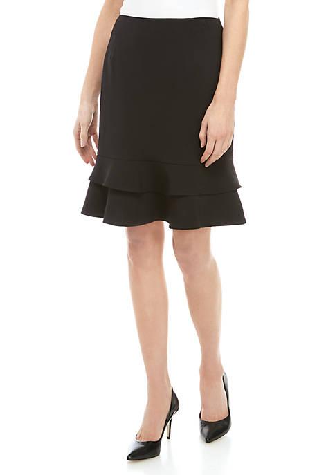 Kasper Petite Bottom Ruffle Skirt
