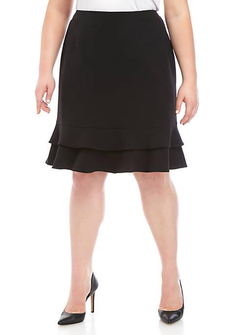 Kasper Plus Size Ruffle Bottom Skirt