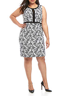 Kasper Plus Size A Line Floral Dress