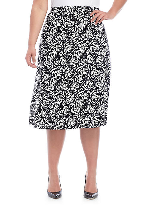 Kasper Plus Size Sunburst Print ITY Skirt
