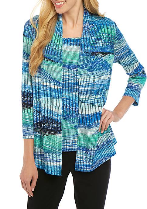 Kasper Stripe Textured Open Front Knit Jacket