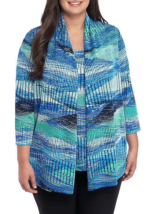 Plus Size Stripe Textured Open Front Knit Cardigan