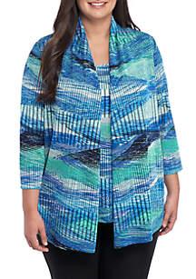 Kasper Plus Size Stripe Textured Open Front Knit Cardigan