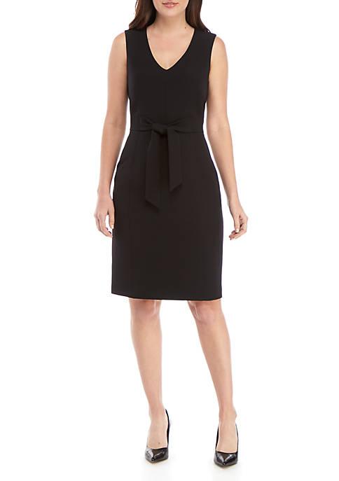 Petite Sleeveless Tie Waist Detail Dress