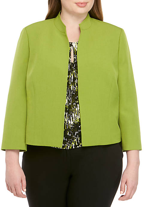 Plus Size Stand Up Collar Open Jacket