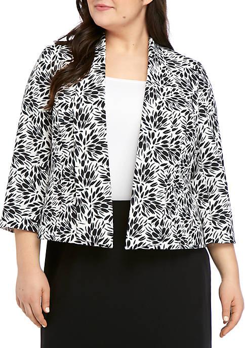 Kasper Plus Size Open Sunburst Print Jacket