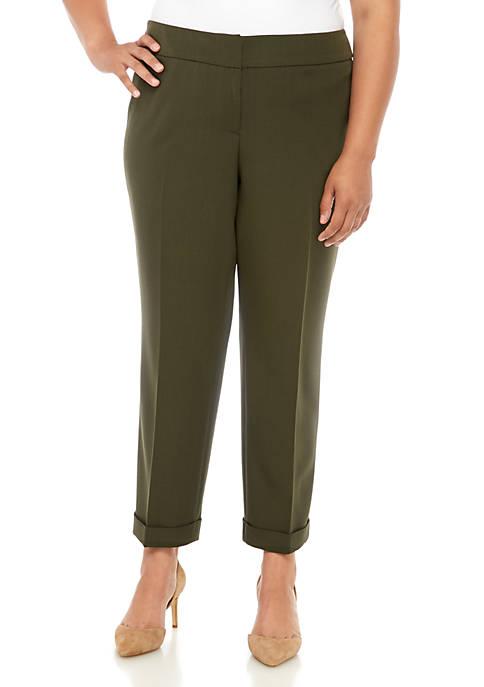 Kasper Plus Size Solid Ankle Cuff Pants