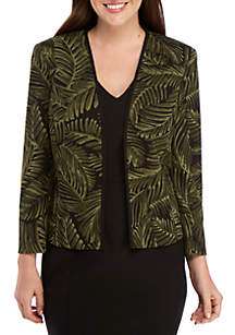 Kasper Palm Print Open Jacket
