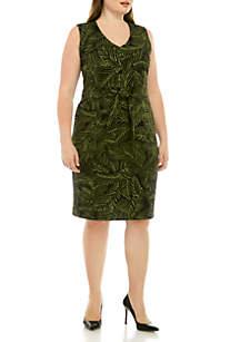 Kasper Plus Size Printed Tie Waist Dress