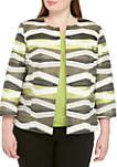 Plus Size Open Front Jacquard Jacket