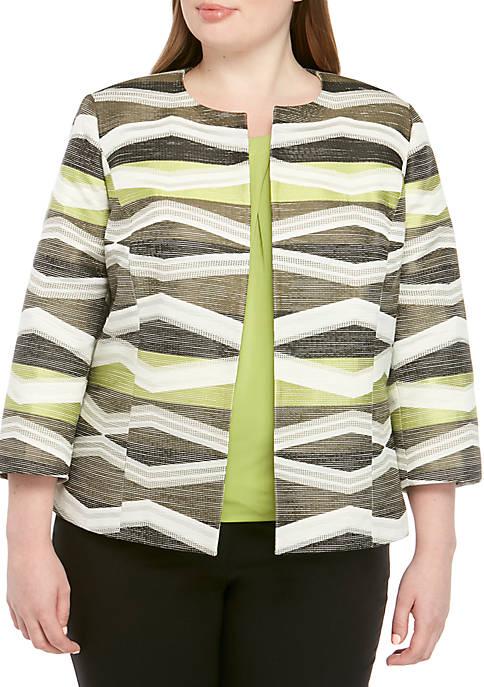 Kasper Plus Size Open Front Jacquard Jacket