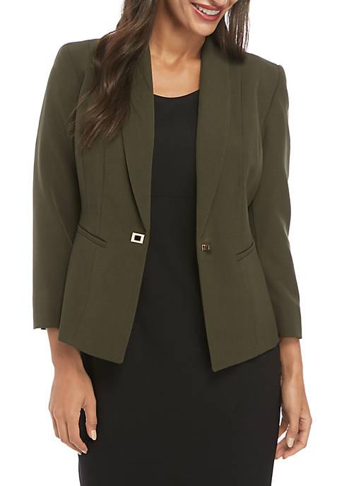 Petite 1 Button Crepe Jacket