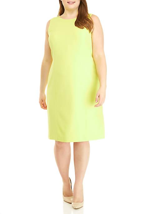 Plus Size Sleeveless Jewel Neck Dress