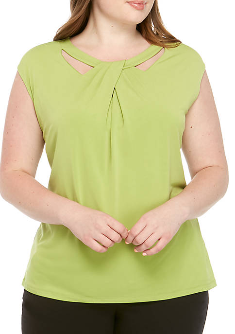 Kasper Plus Size Criss Cross ITY Cami