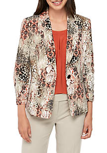 Kasper 1 Button Snake Print Jacket
