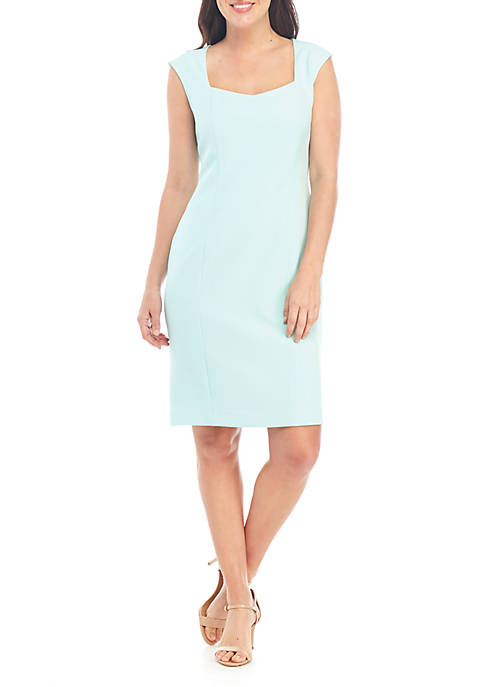 Petite Cap Sleeve Crepe Dress