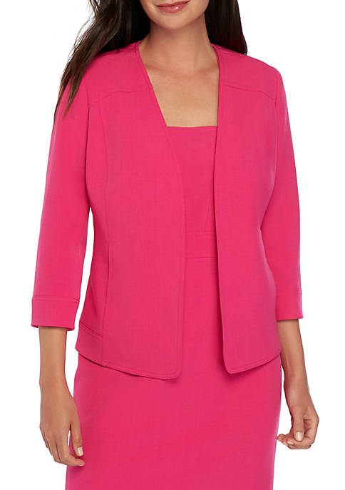 Kasper Petite V Neck Open Front Jacket