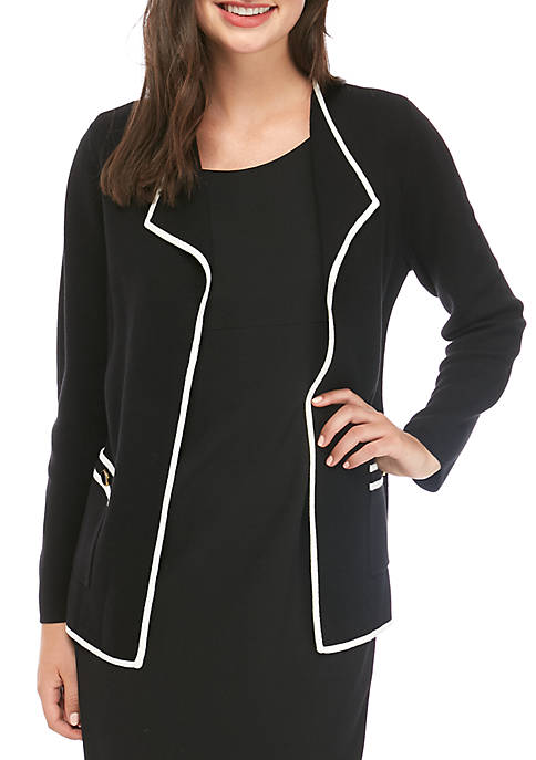 Womens Open Cardigan with Contrast Tipping
